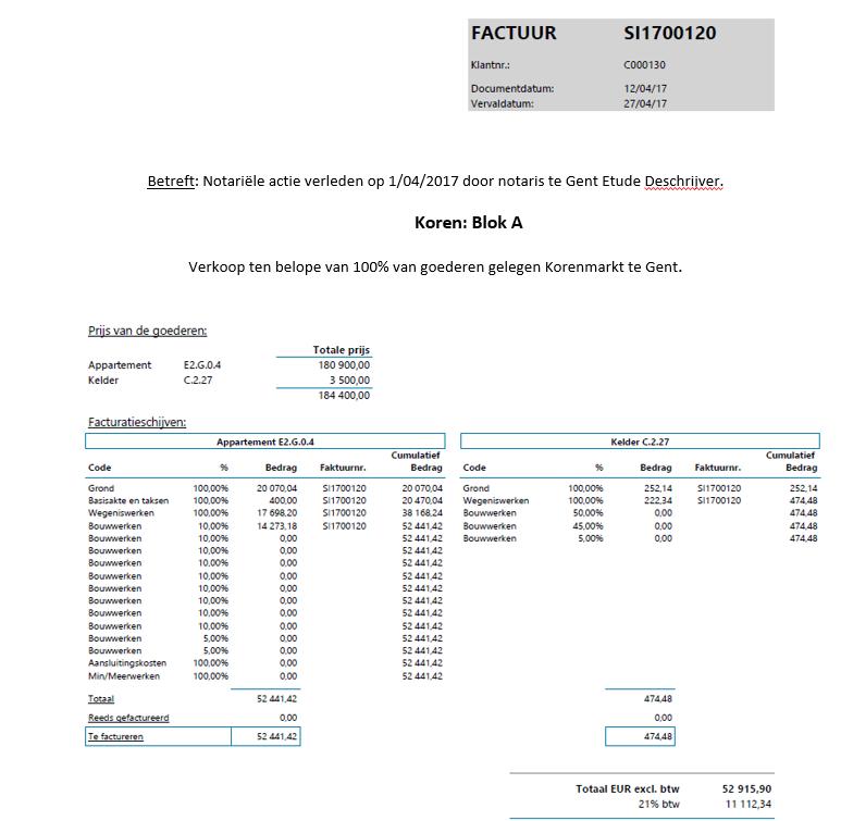Real estate factuur